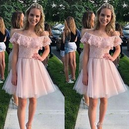 $enCountryForm.capitalKeyWord NZ - Cheap Pink Short Homecoming dresses With Scoop Neck short tulle Mini Skirt Cocktail Graduation Dreses Custom Made 2019