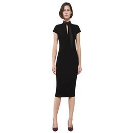 6b037cfaa0c2 ladies office wear elegant dress 2019 bodycon dresses belted high neck woman  back zipper knee length pencil black summer dress