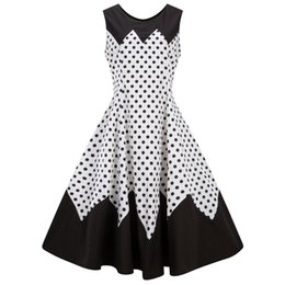 887be73ab82 Vintage Series Dress Spring Summer Round Neck Polka Dot Printing Stitching  Sleeveless Corset Women Retro Vestidos