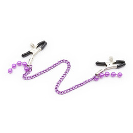 $enCountryForm.capitalKeyWord Australia - Adult supplies fun milk clips Purple beads children's appliances iron chain clips Couples toys bound passionate flirting sex tools