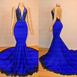 Royal Dresses Trumpet Australia - Royal Blue Mermaid Prom Dresses Black Appliques 2019 New Designed Halter Neck Backless Long Evening Gowns Custom Made