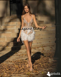 gowns feathers designs NZ - Sexy Spaghetti Short Prom Party Dresses Luxury Design Sparkly gelinlik Crystal Feather Beaded Mini Cocktail Evening wear gowns