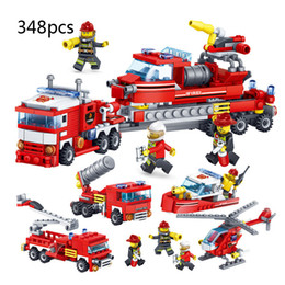 $enCountryForm.capitalKeyWord Australia - 348pcs 4 In1 City Fire Department Enlightenment Toys For Children Series Assemble Compatible Ladder Fire Truck Toys Gift J190719