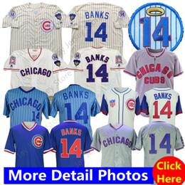 ErniE banks online shopping - 2019 Chicago Ernie Banks Jersey Home Away Baseball Cubs Jerseys Cream Pinstripe Blue White Grey Men size M XL