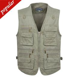 $enCountryForm.capitalKeyWord Australia - 4xl 5xl Spring Autumn Men Plus Size V-neck Casual Vests Male Big Size Multi-pockets Waistcoats Outdoors Photography Vest D142