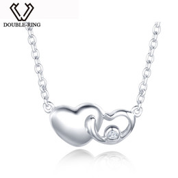"18' Sterling Silver Chain Australia - Real 0.01ct Diamond Necklaces 925 Sterling Silver 18"" Chain Heart Pendant Romantic Christmas Gift Brand Jewelry for Charm women"