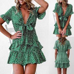 Wholesale casual short sundresses resale online – Women Boho Short Mini Dress V Neck Casual Beach Party Summer Sundress Knot Dress