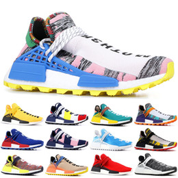Wholesale nude lace boot for sale – dress 2019 NMD Human Race Pharrell Williams Men Running Shoes PW HU Holi MC Tie Dye Equality Designer women Sport Sneakers With Box