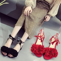 Wholesale Lucky2019 Tassels Bandage One Word Women s Shoes Flower Fish Mouth Flat Bottom Student Sandals