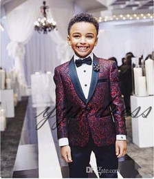 New Print Boy Tuxedos 2020 One Button Shawl Lapel custom Made Boy Wedding Suits Two Piece suits (Jacket+Pants+Tie) on Sale