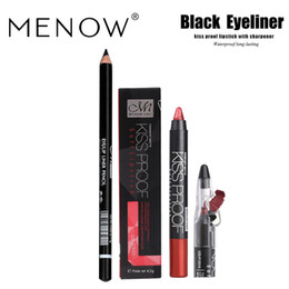 Menow Lipstick Brand Australia - MENOW Brand Make up set kiss proof Lipstick &Pencil sharpener&Eyeliner Waterproof lasting women beauty Cosmetic drop ship 5317