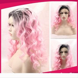 ombre loose wave synthetic wig NZ - Fashion Wig Ombre Two Tone Black and Light Pink Loose Wave Kinky Curly Synthetic Lace Front Wigs Ombre Pink Party Wigs