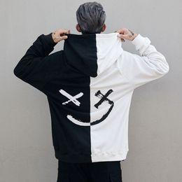 Smile buttonS online shopping - hoody Smiley face hoodie Devil smile face d Black White kids hoodie Sweatshirts Men Women hip hop Bboy fashion Hoodies