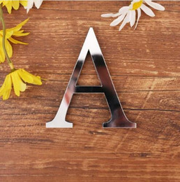 Stock Mirrors Australia - 28 English Letters Acrylic Mirror Surface Wall Sticker 3D Silver Alphabet Poster Bedroom Festival Party Decoration DIY Art Mural