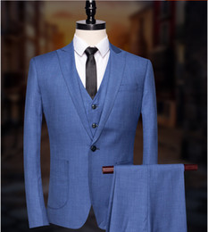 $enCountryForm.capitalKeyWord Australia - (Jacket+Pants+Vest) 2018 Brand Men Suits Light Blue Blazers Slim Fit Male Tuxedo Groom Suits Wedding Prom Business Formal Suit