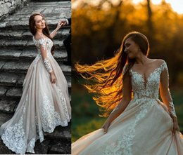 $enCountryForm.capitalKeyWord Australia - 2019 elegant sheer Long Sleeve Wedding Dresses Bridal Gowns with Illusion top Lace stunning Beach vintage Wedding Gown backless custom made