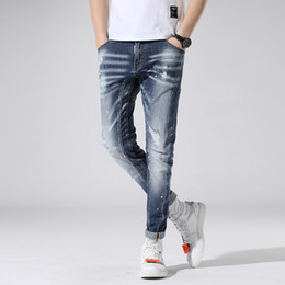 $enCountryForm.capitalKeyWord Australia - Blue Stretch Jeans Brand Slim Fit Men Washed Painted Zipper Hip Hop Hole close-fitting Denim pants Straight Trousers AAA1955