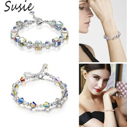$enCountryForm.capitalKeyWord Australia - Sparkling Aurora Crystals Link Chain Stretch Bracelet Women Fashion Jewelry Gift