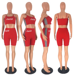 $enCountryForm.capitalKeyWord NZ - Sling splicing suit Women Sports Suit Crop Tops+ shortsTracksuits SummerSummer Sport Lounge Wear Ladies Yoga Suit Jogging Suits