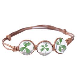 Vintage styles glasses online shopping - 2018 New Spring Summer Boho Style Vintage Dried Flowers Glass Ball Bracelet Weave Lucky Grass Bracelets Jewelry