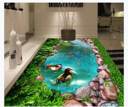 leather living room wallpaper Australia - 3D custom self-adhesive waterproof photo floor mural wallpaper Green grass cobblestone green grass pool goldfish 3D bathroom floor