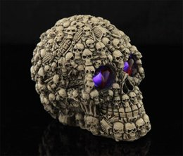 scary cosplay Canada - Halloween LED Lighting Skull Accessories Scary Resin Head Cosplay Special Spoof Prop