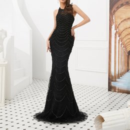 $enCountryForm.capitalKeyWord UK - New High Neck Black Mermaid Evening Gown Overall Beading Evening Dress Trumpet Dresses for Women Party Wear Robe De Soiree Formal Dresses