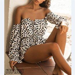 Großhandel Frauen Damen Sommer Herbst Schulterfrei Sexy Playsuits Mode Langarm Leopardenmuster Verband Dünne Spielanzüge Kurze Hosen