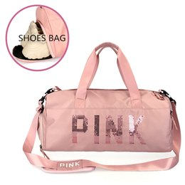 Sh Fashion UK - FGGS-Fashion Hand Luggage Bag Sequins Pink Letters Gym Fitness Sports Bag Shoulder Crossbody Outdoor Separate Space For Sh
