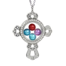 $enCountryForm.capitalKeyWord Australia - Silver Plated Cross Magnetic Open Glass Locket Pearl Cage Pendant Floating Charms Living Memory Necklace With Stainless Steel Chain