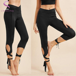 13270d1f1f8a6 Hot Women Ballerina Yoga Pants Leggings High Waist Fitness Cross Tight Time  Elastic Legins Yoga Ballet Dance Cropped Sports Pant