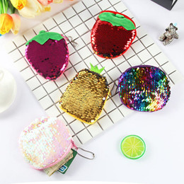 Double Color Bedding Australia - Bling Sequin Double Color Coin bag Wallet Change Purse Zipper Round Clutch Earphone Cable Storage Key Card Holder Student Gift
