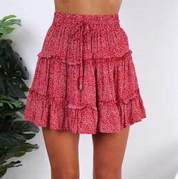 Discount business casual shorts for women - High Waist 2019 women skirts for business uniform Sexy Skirt Women Fashion Summer Casual Ruffled Floral Print Beach Shor