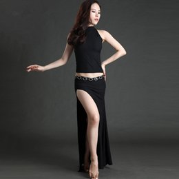 belly dance dresses NZ - Women belly dance costumes dance training performance dress thickening knitting split female adult uniforms long skirt suits