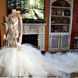 Fluffy Garden Wedding Dresses Australia - Sexy Nigerian African Mermaid Wedding Dress High Neck Applique Long Sleeves Glamorous Sheer Back Fluffy Bridal Gown