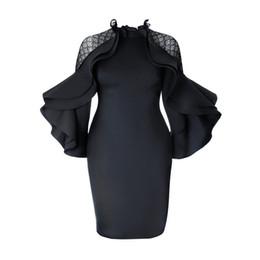 71d667ed230 Discount short office dress styles - Kinikiss 2018 Autumn Bodycon Dress  Falbala Black Ruffle Sleeve Ladies