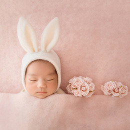 Wholesale Wool curly bunny hat Felted baby photography props Animal hat Felted newborn props bonnet