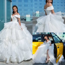 Wholesale tops design skirts for sale - Group buy Crystal Design Country Modest Wedding Dresses Off The Shoulder Top Beading Tiered Skirts Ruffles Bridal Gowns robes de mariée