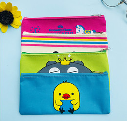 Simple School pen online shopping - Korean Creative Cartoon Canvas Pencil Bag Lovely Simple Large Capacity Zipper Stationery Bag Pencil Bag Learning Supplies