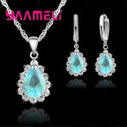 wholesale jewelry set sale NZ - Luxury Couple Class Wedding Anniversary Jewelry Sets 925 Sterling Silver Cubic Zircon Hot Sale Earrings+Necklace set
