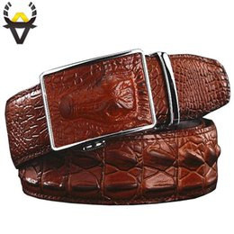 leather crocodile belt Canada - Fashion Men's belts Genuine leather Crocodile Automatic Belt man buckle Real Cow skin Wide girdle for Jeans male