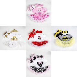 $enCountryForm.capitalKeyWord Australia - Newborn Baby Princesses Dress 9 Color Infant Baby Girls Cartoon Romper Kids Designer Clothes Girls Bow-Tie TUTU Dress Headband Shoes Set 06