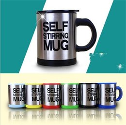 water tumblers wholesale NZ - Automatic Agitation Coffee Cup With Handle Creative Electric Mugs Metal Stainless Steel Water Tumbler Lazy Person Best Sellers 11jc N1