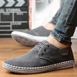 Leather Casual Shoes For Men Australia - Men's Shoes Suede Leather Gray Shoes Plus Size 45-48 Cow Leather Casual For Men Lace-Up Sewing Handmade Male