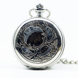 Pocket Watch Chain Fob Silver Australia - Vintage Silver Bronze Flower Hollow Hand Wind Mechanical Pocket Watch Roman Number Dial Fob Watch With Pendant Chain