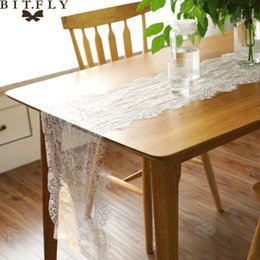 $enCountryForm.capitalKeyWord Australia - 35x300cm Lace Eyelash Table Runner Floral Table Cloth For Baby Shower Wedding Festival Party Cover Supply Home Textile