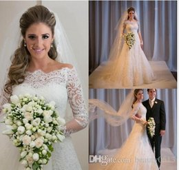 Cross bow sales online shopping - 2015 Off The Shoulder A Line Lace Long Sleeves Beach Wedding Dresses Fashion Covered Button Wedding Dress Bridal Dress for Wedding Hot sale