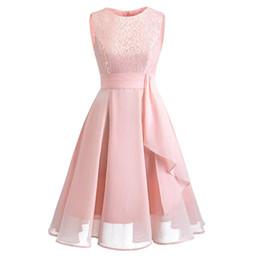 Polyester Chiffon Wedding Dress UK - Female Lady sleeveless lace embroidery chiffon bridal dress short party wedding bride official summer dress #Zer
