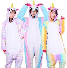 Onesie stars online shopping - Casual Women And Men Pajamas Animal Unicorn Star Design Pyjamas Soft Breathable Flannel Stitch Onesie Sleepwear New Arrival yn BB
