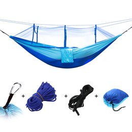 Net Games Australia - Portable Outdoor Hammock Hanging Bed Nylon Fabric Sleeping Bed + Mosquito Net Tactical Large Load Traveling Camping Hammock